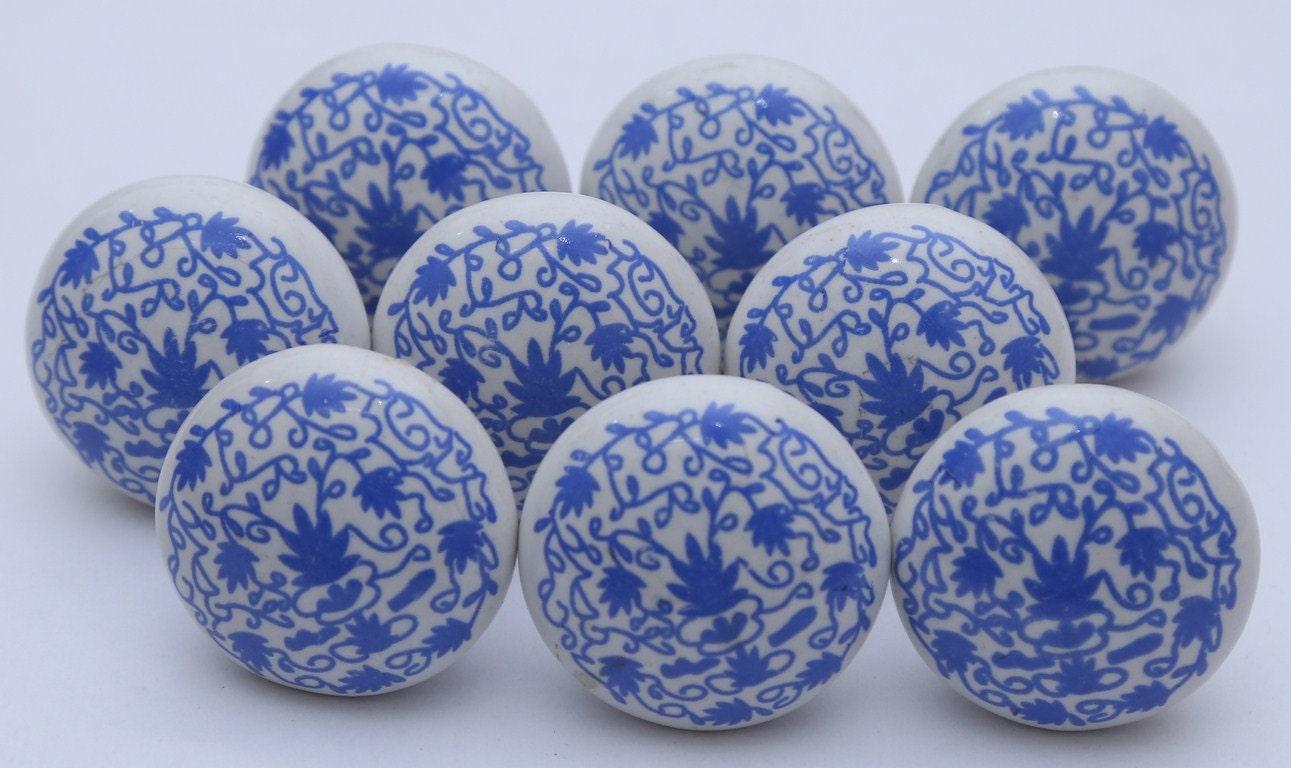 Blue And White Ceramic Knobs Door Kitchen Cabinet Drawer Pulls