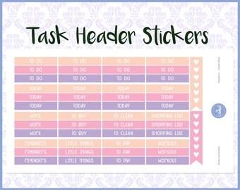 Task Header Stickers | Label Stickers | Planner Stickers | Journal Stickers | Diary Stickers - Erin Condren, Happy Planner, Kikki K