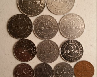 14 bolivia vintage coins 1987 - 1997 - coin lot centavos boliviano - world foreign collector money numismatic a96