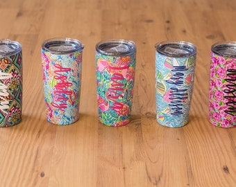Monogrammed Stainless Steel Tumbler 20 oz. Personalized Custom Lilly  Tumbler, Gift for Her Bride Tumbler Bridesmaid Wedding Party