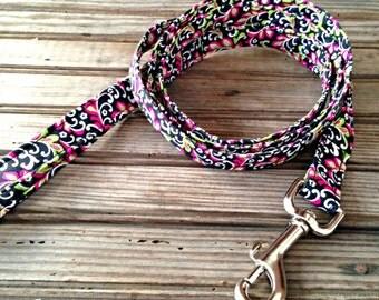 Dog Leash, Black + Pink Floral Print Dog Leash, Floral Print Dog Leash, Fabric Dog Leash, Floral Dog Leash
