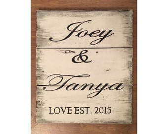 Custom wood sign - Family name established date, wedding wood sign, made to order,  wedding sign, newlyweds wood gift, valentines gift