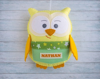 Owl personalized Gift ideas Kids room decor accents Gift for boy Green yellow nursery Decorative ornament Stuff owl home decor Birthday gift