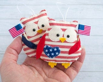 4th of July decor Patriotic decor Owl ornaments Owl wall hanging Independence day usa flag colors American home decor Christmas gift Red owl