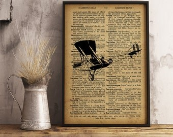 Retro Aircraft decor, Airplane Dictionary Art Print, Aircraft decor vintage style, Pilot Gift, Aviator Gift,  Aircraft wall art (A014)