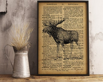 Moose Print, Moose Art Poster, Moose wall art, Animal art poster, Elk wall art printable, Lodge decor, cabin decor, wildlife print   A19