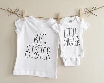 Big sister little mister set, big sister shirt, little brother onesie, baby onesie, Tshirt, shirt, sibling set, kids clothing