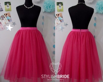 166 Fuchsia Tutu Skirt Casual Women's, Tulle Skirt Bridal, Princess Women Tulle Skirt, Princess Skirt, Wedding Fuchsia Tulle Skirt