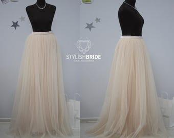 Light Peach Long Tulle Skirt Casual Floor length Lux/Women's, Tulle Skirt Bridal,Princess Women Tulle Skirt,Wedding Long Blush Tulle Skirt
