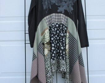 Upcycled Tunic/Dress, Lagenlook dress, bohemian style, medium to large, anthropologie inspired, eco-friendly construction