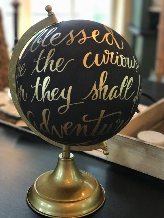 Custom Calligraphy Globe / Black Chalkpainted Globe / Gold Calligraphy Globe / You Choose Custom Wording / Wedding Guest Book Globe/Nursery