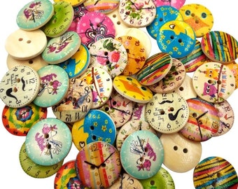 10 vintage style wooden buttons