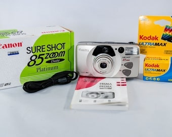 Canon Sure Shot 85 Zoom Platinum Edition 35mm Point-and-Shoot Date Camera with 38-80mm Canon Zoom Lens. MINT!!!