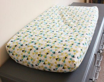 Hexagon Changing Pad Cover, diaper pad changing cover, baby boy changing cover, aqua green nursery, nursery decor, nursery bedding,baby gift