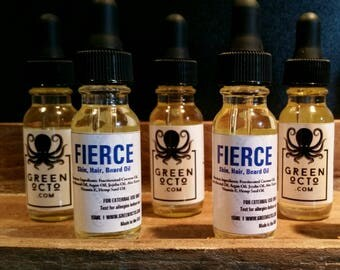 Fierce. Hair, Skin & Beard Oil. Crisp, Masculine, Clean Scent.