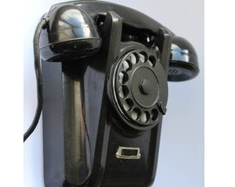 Soviet wall phone 1961. Soviet telephone. Vintage phone. Vintage telephone. Rotary Dial Phone. Black rotary phone