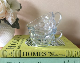 "Anchor Hocking ""Bubble"" Blue Glass Cup - Set of 2"