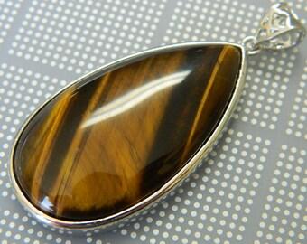 Natural Tigers Eye Pendant - Platinum Teardrop - Tigerseye Amulet - Golden Focal - Gemstone Pendants