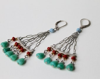 Vintage silver tone turquoise, jade and red coral bead tribal, bohemian earrings. 1990's tribal, bohemian style dangle earrings.