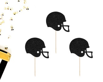 Football Helmet Cupcake Toppers (Set of 12) | Football Cupcake Toppers | Football Game | Homecoming Spirt | Football Birthday Party Toppers