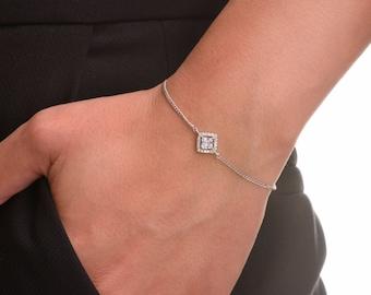 Dainty Bracelet, Delicate Bracelet, Delicate Silver Bracelet, Silver Bracelet, Cz Bracelet, Minimalist Jewelry, Bridesmaid Bracelet.