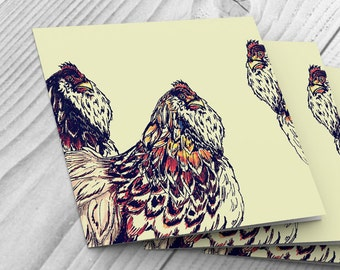 6 Cards with three french hens design - 148mm x 148mm