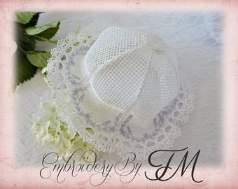 Lace Baby Hat / three sizes / 5x7 hoop/ machine embroidery design
