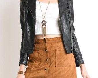 Black Moto Zip Jacket