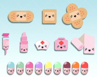 Kawaii pills clipart - Bandage Aid , Medical kit digital graphics  perfects for Planner Stickers - inserts - Dividers - Paperclips