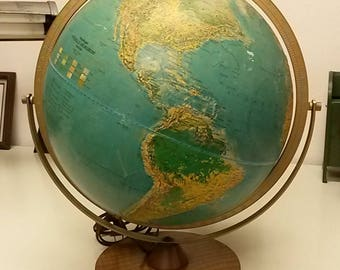 "Vintage Globe with working light, Vintage Classroom Globe, School Globe, Illuminated Globe, Replogie Globe, 12"" Globe, Old School Globe"