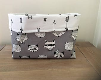 Fabric basket, choice of 5, baby shower gift, gender neutral, woodlands, deer, cactus, crosses, Feathers