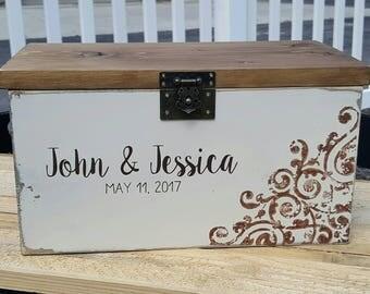 Locking Wedding Keepsake Box, Wedding Card Box, Rustic Wedding, Rustic Card Box, Wedding Card Holder, Wood Card Box, Rustic Wedding Decor