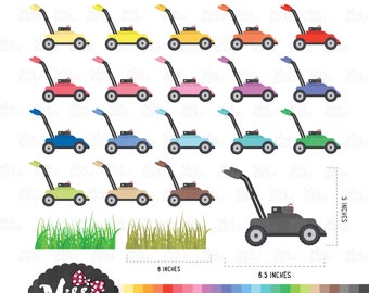 30 Colors Lawn Mower Clipart - Instant Download