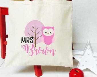 Pink Owl Teacher Tote Bag End of Term Thank You School Gift bag