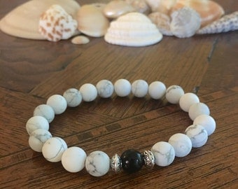 Matte White Howlite 8mm Beaded Bracelet