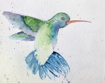 Hummingbird, 4x4 print, watercolor, watercolor print, fine art prints, watercolor bird, hummingbird art