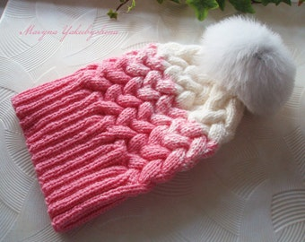 Knitting hat Women hat Hat with Pompom Ombré Knit Hat GRADIENT HAT Pink and white Knitting hat with braids Cap Gift