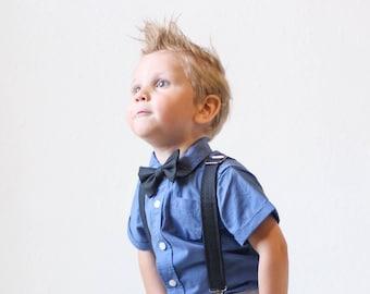 Boys Black Spotted Adjustable Bow Tie & Suspender Set