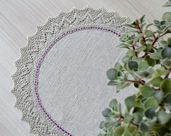 Small linen tablecloth with lace Rustic table centerpiece for dining table Farmhouse table runner Dresser scarf Oval placemat