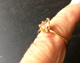 Attractive Gold style ring with Pink Stone