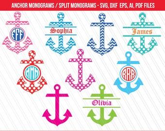 Anchor svg, Anchor monogram svg, Anchor split monogram, Anchor clipart, svg dxf cut files, cricut, silhouette, vinyl -dxf,eps,ai,svg,pdf