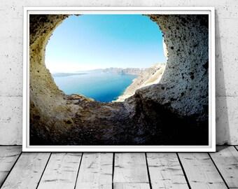 Santorini Print Santorini photography Greece wall art Ocean print Greek island print rocks wall decor minimal art mediterranean sea wall art