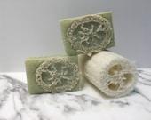 Bamboo Mint soap with Loofah inside, handmade