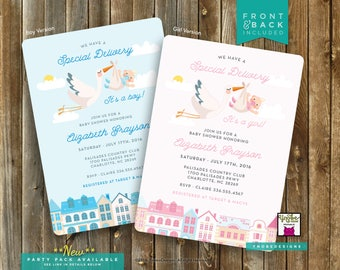 It's a Girl, It's a Boy, Stork, Baby Shower, Invitation, 5x7, 4x6, Pink, Blue