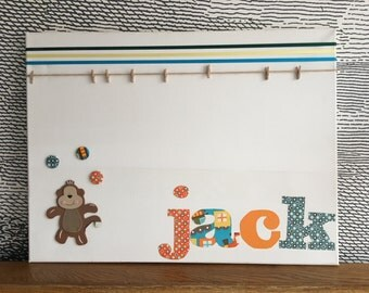 "Personalised decorative peg board - with wooden and felt monkey icon - 18"" x 24"" - jack"