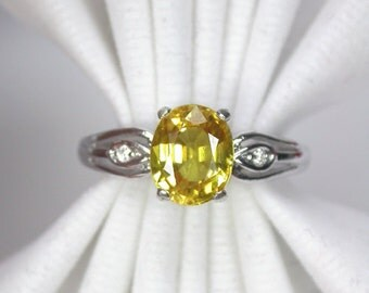Wedding ring 2.20 ct yellow golden sapphire ring silver sterling.