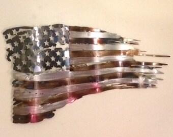 "Battle Worn tattered distressed metal Flag measuring 30"""