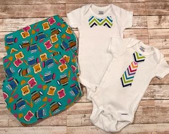Baby Boy Onesie/Burp Cloth Set~~Minky~Snuggle Flannel~Rainbow Chevron~Peanut Butter Jelly Time!
