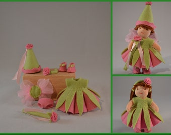 Pdf pattern - Rose fairy outfit for Waldorf inspired, 3 inch tall dress-up doll-Pattern for DOLL  NOT INCLUDED