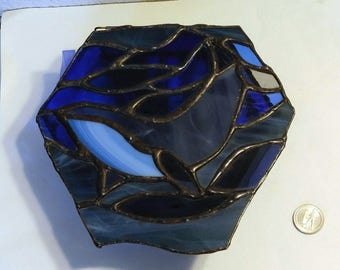 Stained Glass Whale Box-Stained Glass Jewelry Box-Glass Jewelry Box-Glass Trinket Box-Stained Glass Trinket Box-Ocean Art-Whale Art